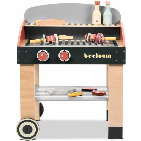 Cocina infantil juguete madera para niños cocinita barbacoa con accesorios