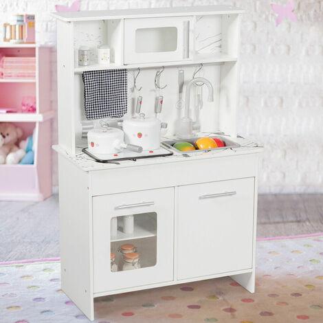 Cocina Juguete Infantil con Accesorios 61x32x89cm Cocinita Juguete para Niñas Color Blanco