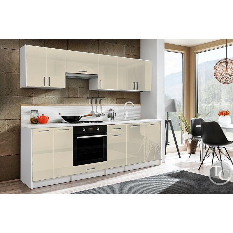 Cocina modular - ELIZA 240 CM ECRU BRILLO, sin encimera - TARRACO