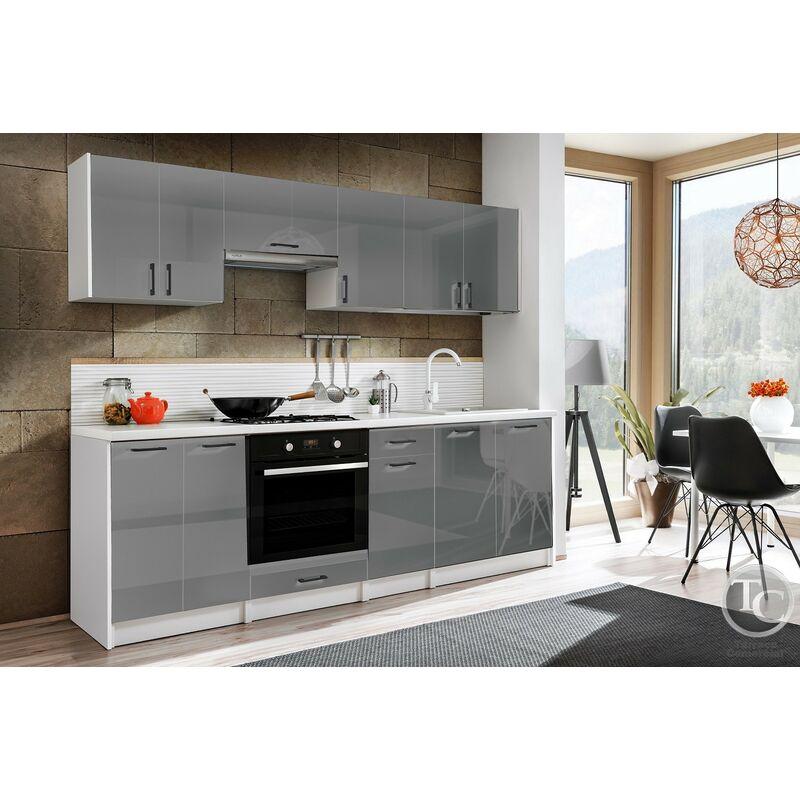Cocina modular - ELIZA 240 CM GRIS BRILLO, sin encimera