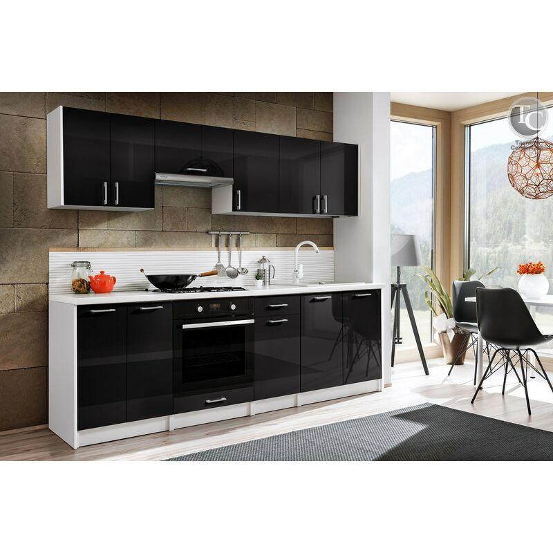 Cocina modular - ELIZA 240 CM NEGRO BRILLO, sin encimera