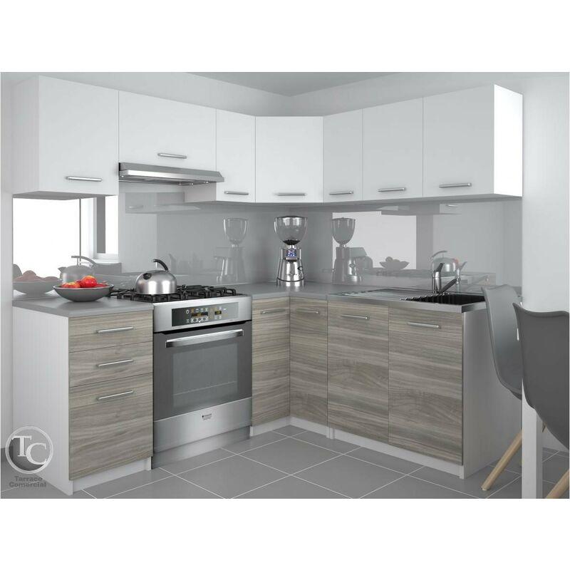 Cocina Modular - Lidia 360 Cm Blanco/Gris