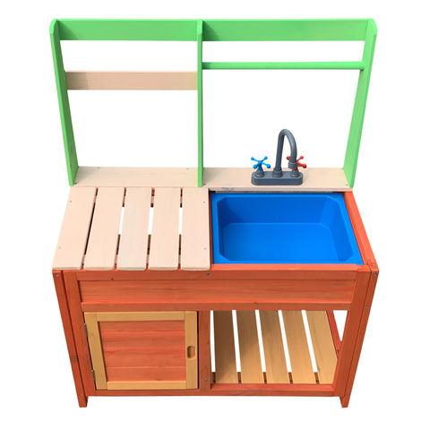 Cocina para niños 72x39,5x91,1cm de madera, para exterior, fregadero y fogones, jugar al aire libre