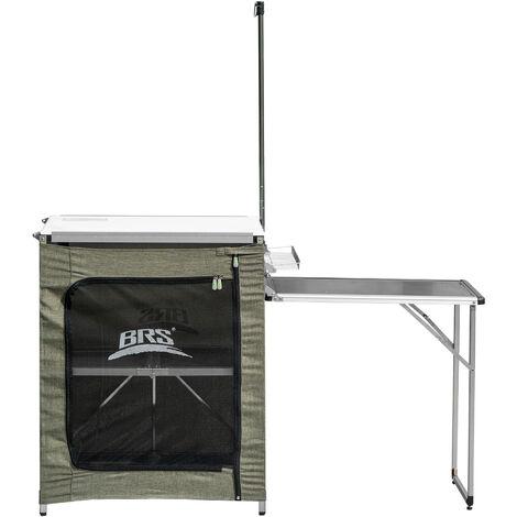 Cocina portatil de 2 niveles, cocina de camping, mesa de cocina, mesa de camping de aleacion de aluminio con bolsa de transporte para acampar, barbacoa, fiesta en el patio trasero