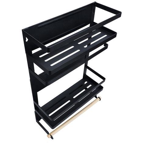 Cocina Refrigerador Estante Organizador, Frigorifico estante lateral magnetica Nevera organizador papel sostenedor de la toalla, negro