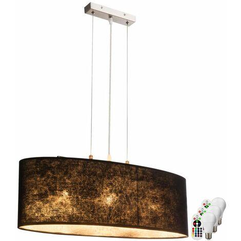cocinas luz de techo Lámpara colgante de tela negro INTENSIDAD Set incl. LED RGB lámparas