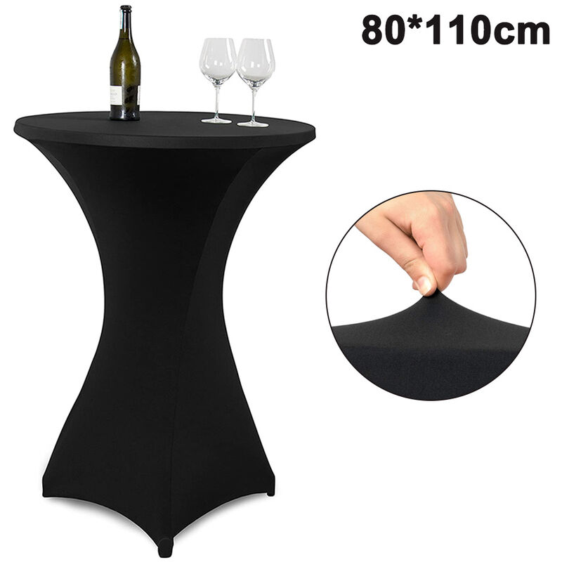 Cocktail Round Spandex Table Cover Four-Way Tight Fitted Stretch Nappe Nappe pour la fête en plein air DJ Tradeshow Banquet Wedding, 80 * 110