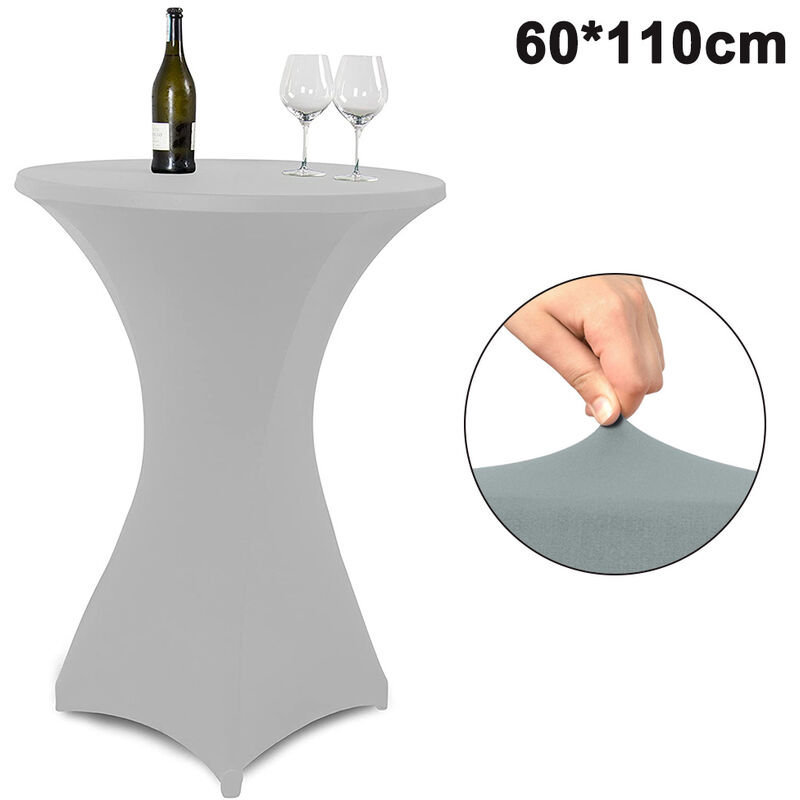 Cocktail Round Spandex Table Cover Four-Way Tight Fitted Stretch Nappe Nappe pour Outdoor Party DJ Tradeshow Banquet Wedding, 60 * 110