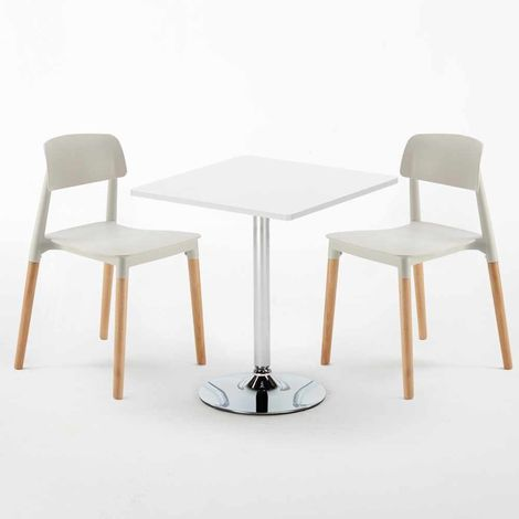 COCKTAIL Set Made of a 70x70cm White Square Table and 2 Colourful BARCELLONA Chairs