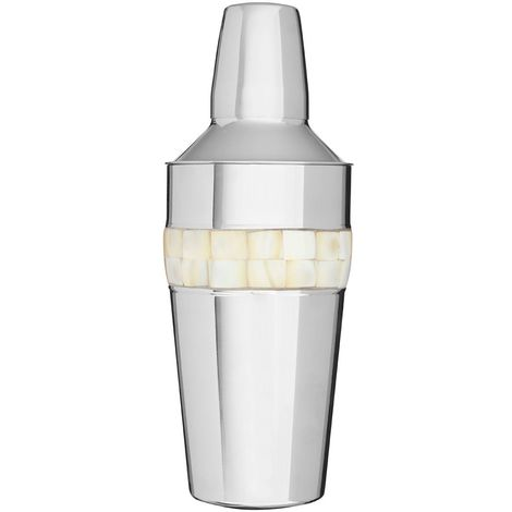 Cocktail Shaker, Mother of Pearl Inlay Design, Stainless Steel