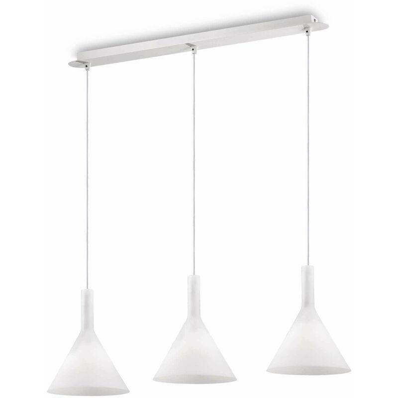 COCKTAIL weiße Pendelleuchte 3 Glühbirnen