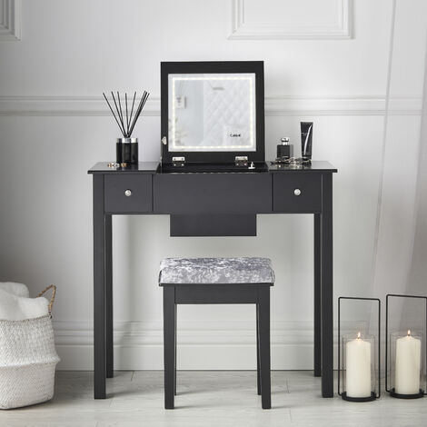 Coco - Black Dressing Table with Flip Top Mirror LED Lights 2 Drawers Stool Set Makeup Organiser?