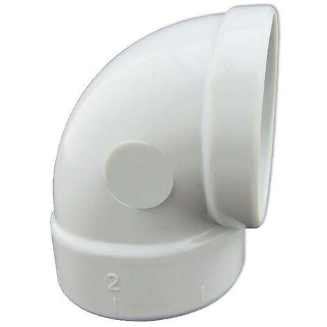 Codo 90º Corto de PVC Conexión Hembra- Hembra para Aspiración Centralizada