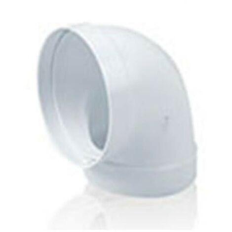Codo 90º redondo de PVC blanco para tubo