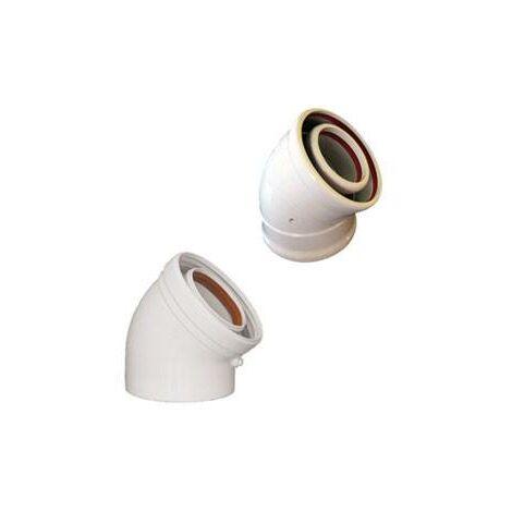 Codo Coaxial 45º Aluminio Blanco Diam. 60/100Mm