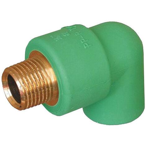 """Codo rosca M Aquatherm D 25 X 3/4"""" rosca de latón 0023510"""