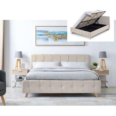 CODY - Lit coffre scandinave en tissu beige avec le sommier relevable 160 x 200 cm