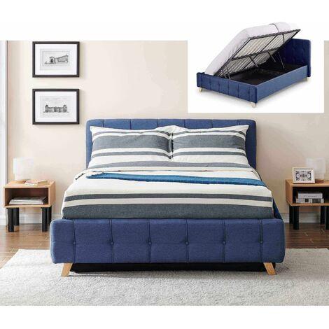 CODY - Lit coffre scandinave en tissu bleu avec le sommier relevable 140 x 190 cm