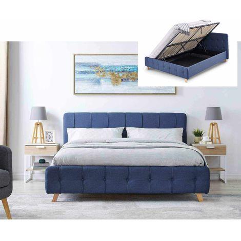 CODY - Lit coffre scandinave en tissu bleu avec le sommier relevable 160 x 200 cm