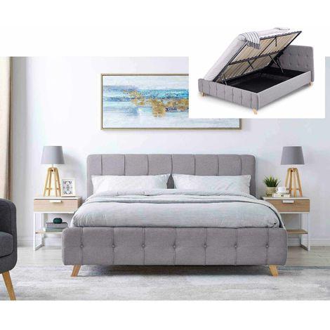 CODY - Lit coffre scandinave en tissu gris avec le sommier relevable 160 x 200 cm