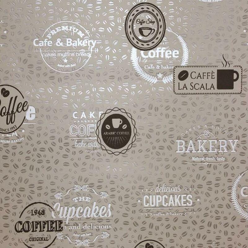 Image of Coffee Bean Shop Motif Cupcake Cafe Wallpaper Beige Brown Vinyl Textured - BN
