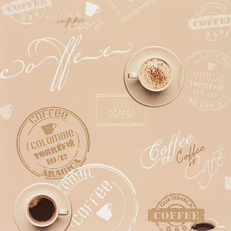 Coffee Cup Wallpaper Beige Brown Typography Script Kitchen Washable Vinyl