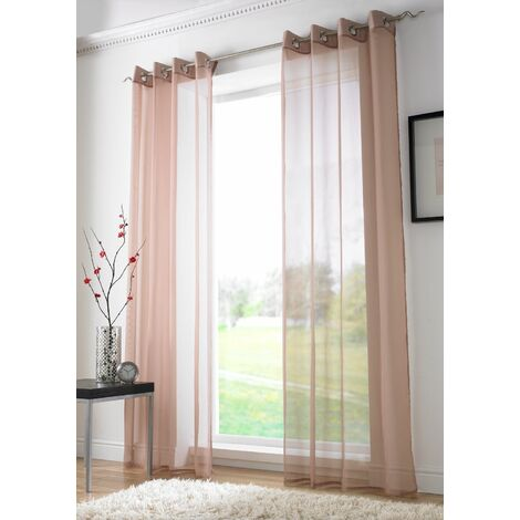 """Coffee Eyelet Ring Top Voile Curtain Panel 72"""" Drop"""