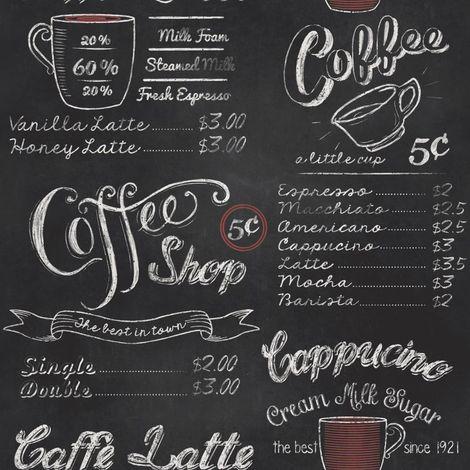 Coffee Shop Print Wallpaper Retro Vintage Black White Chalk Typography Script