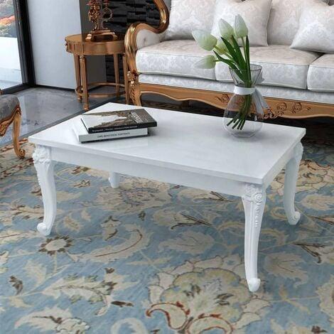 Coffee Table 100x60x42 cm High Gloss White - White