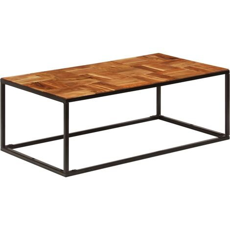 """main image of """"Coffee Table 110x40x60 cm Solid Acacia Wood and Steel - Brown"""""""