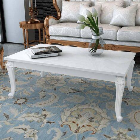 Coffee Table 115x65x42 cm High Gloss White - White