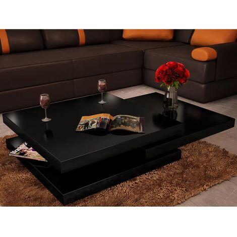 Coffee Table 3 Tiers High Gloss Black - Black