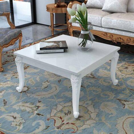 Coffee Table 80x80x42 cm High Gloss White - White