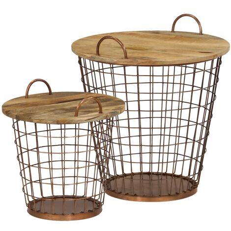 Coffee Table/Basket Set 2 Pieces Solid Mango Wood 55x50 cm