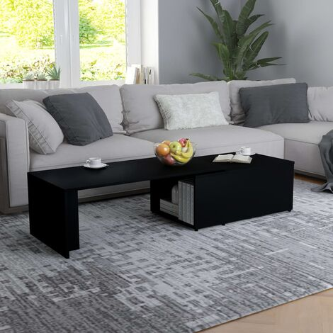 Coffee Table Black 150x50x35 cm Chipboard