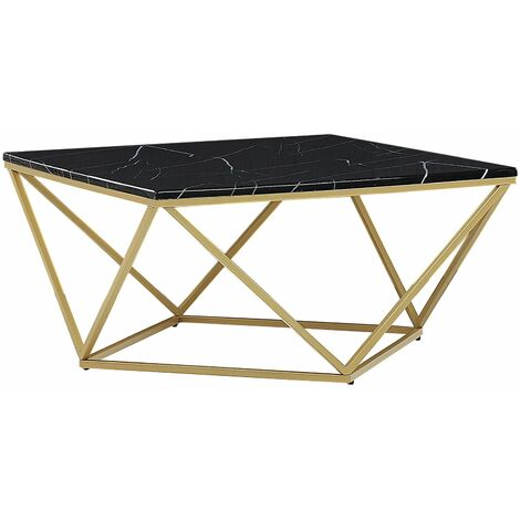 Coffee Table Black Marble Effect With Gold Malibu 134366