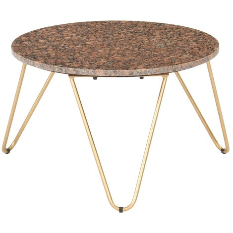 Coffee Table Brown 65x65x42 cm Real Stone with Marble Texture