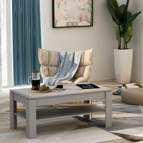 Coffee Table Concrete Grey 110x60x47 cm Chipboard