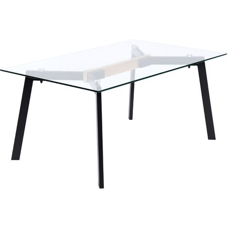 Coffee table, glass dining table with black legs, measures: 110 x 60 x 45 cm high