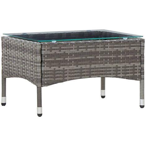 Coffee Table Grey 60x40x36 cm Poly Rattan