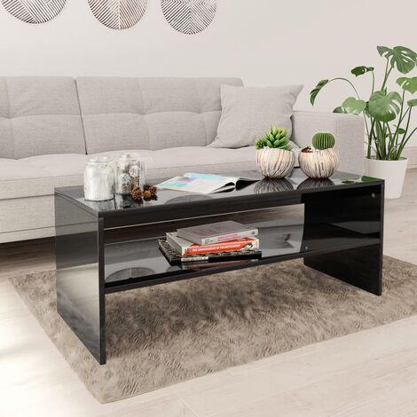 Coffee Table High Gloss Black 100x40x40 cm Chipboard
