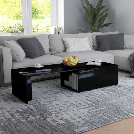 Coffee Table High Gloss Black 150x50x35 cm Chipboard