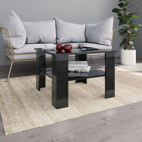 Coffee Table High Gloss Black 60x60x42 cm Chipboard