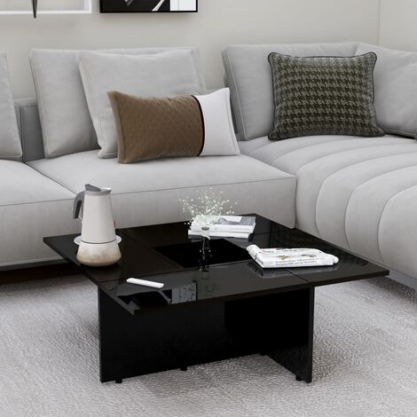 Coffee Table High Gloss Black 79.5x79.5x30 cm Chipboard