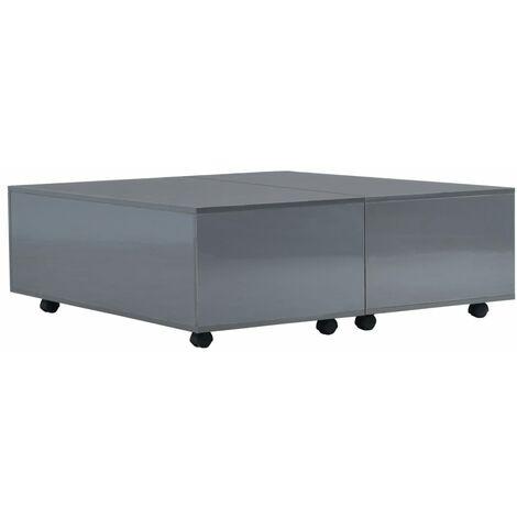 Coffee Table High Gloss Grey 100x100x35 cm