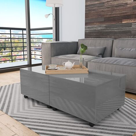 Coffee Table High Gloss Grey 120x60x35 cm