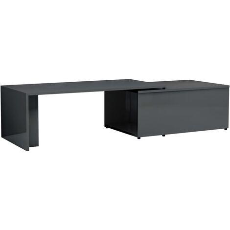 Coffee Table High Gloss Grey 150x50x35 cm Chipboard