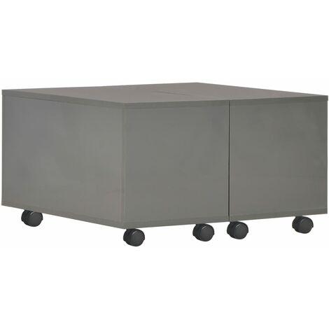 Coffee Table High Gloss Grey 60x60x35 cm Chipboard