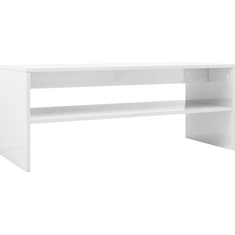 Coffee Table High Gloss White 100x40x40 cm Chipboard