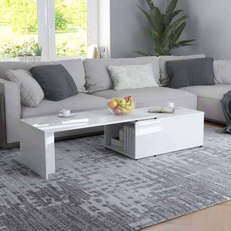Coffee Table High Gloss White 150x50x35 cm Chipboard - White